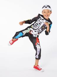 fancy dress multicoloured halloween skeleton costume with mask 6