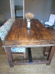 Farm Table With Bench And Chairs Dining Tables Distressed Farmhouse Dining Table Farmhouse Table