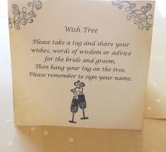 Wedding Wishes Jokes Wish Card Instruction Sign Wedding Wish Tree By Piccadillystation