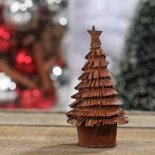 small rusty tin christmas tree figurine table decor christmas