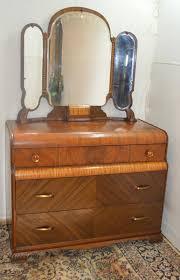 Dresser Vanity Bedroom Art Deco Waterfall Style Dresser Vanity With Mirror Part Of 4 Pc