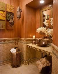 Unique Powder Rooms Painting Orange Bathroom Decor With Unique Decorative Pieces On