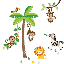 kids room interior wall decoration with kid wall decals for full size of color animal and tree in the jungle wall decal sticker decor design idea