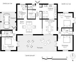 plan maison 3 chambre plan maison plain pied en u 12 3 chambres systembase co