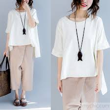 summer blouses cotton baggy t shirt low high design plus size summer tops