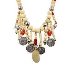 boho bib necklace images Boho necklace beaded stone bone gypsy necklace vintage bib jpg