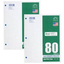 amazon com graph filler paper 4x4 ruled 2 pack of 80 sheets each