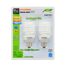 shop sylvania 2 pack 100 w equivalent bright white a19 cfl light