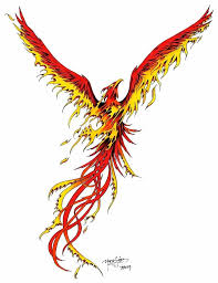 attractive flying phoenix tattoo design for sleeve