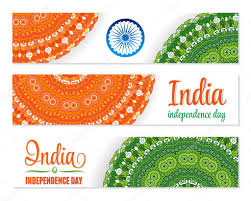 Independence Flag Set Of Watercolor Banners Indian Flag For Independence Day 15th