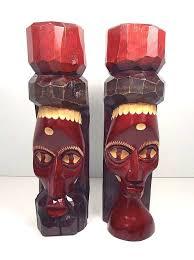 2 pc estate lot jamaica carved wood mask sculptures vintage