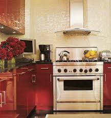 Elle Decor Kitchens by Red Lacquer Cabinets