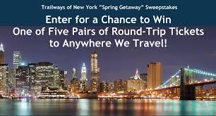 spring getaway sweepstakes trailways of new york