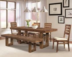 White Wood Dining Table Rectangle Dining Table 4 Rustic Dining Chairs With Bench Under