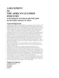 a blueprint of african leather industry leather competitiveness