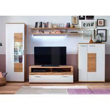 Wohnzimmer Modern Eiche Wohnwand Croadiva In Weiß Mit Eiche Furnier Pharao24 De