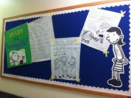 diary of a wimpy kid bulletin board in my lmc for the library