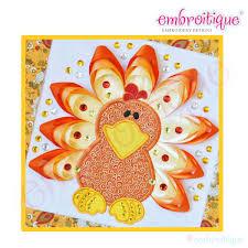 embroitique ribbon turkey applique