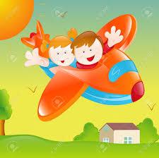 happy kids in plane royalty free cliparts vectors and stock