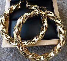 big gold hoop earrings unbranded hoop yellow gold 14k leverback costume earrings ebay