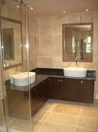 bahtroom dark l shaped bathroom vanity plus white sink under