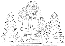 learn draw santa claus gifts christmas step step