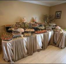 how to make a buffet table like the table at the end for plates decorated with some