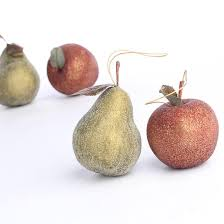 icy artificial apple and pear ornaments