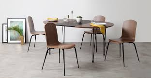 ryland extending dining table and 4 chairs set walnut and black
