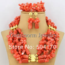 african wedding bead necklace images Splendid african coral beads jewelry set handmade african wedding jpg