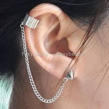 earring with chain to cartilage wholesale korean style earrings buy 1pc silvery chain spike ear