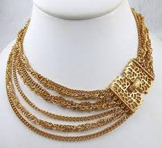 gold tone chain necklace images Trifari 7 strand gold chain necklace garden party collection jpg