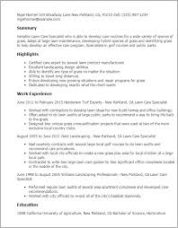 sample resume for lawn care worker 7152