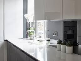 smoked mirror backsplash siematic s3 kitchen in graphite grey and lotus white gloss finish