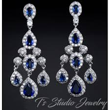 bridal chandelier earrings sapphire blue cz earrings bridal chandelier cubic zirconia earings