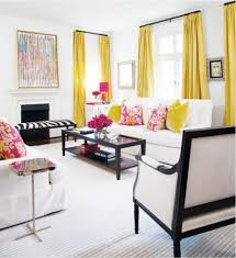 chic interior designs with yellow curtains