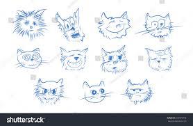 cartoon cat face sketch hand draw stock vector 279973718
