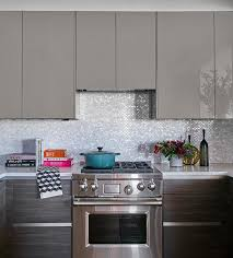 Lacquered Kitchen Cabinets Gray Lacquered Kitchen Cabinets With White And Silver Oval