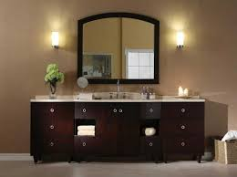 modern bathroom light with double sink and large rectangular