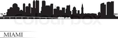 miami city skyline silhouette background vector illustration