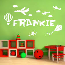 wall designer wall art stickers personalised name boys wall art sticker plane helicopter kite hot air balloon