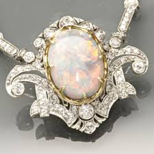 opal necklace vintage images Opal and diamond necklace jpg