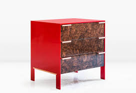 Red Lacquer Kitchen Cabinets by Johansson Cabinet In Red Lacquered Aluminium And Walnut Burl With