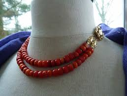coral necklace red images Massive red coral necklace large beads with 18 kt gold clasp jpg