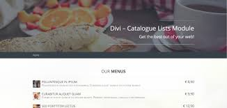 module cuisine plugin spotlight divi catalogue list module