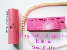 Lipstik Pixy Silky Fit review pixy silky fit lipstick 119 akane semi matte mudrikah