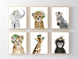 home decorators elephant hamper african baby animals nursery print set 6 safari nursery art