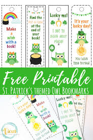 printable bookmarks for readers free st patrick s day printable bookmarks with cute owls