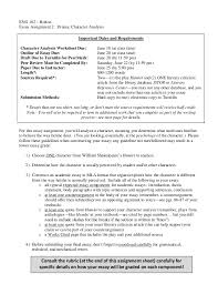 102 essay 2 character analysis drama summer 2013