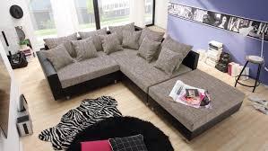 couch mit hocker claudia mit hocker schwarz und graubeige ottomane rechts